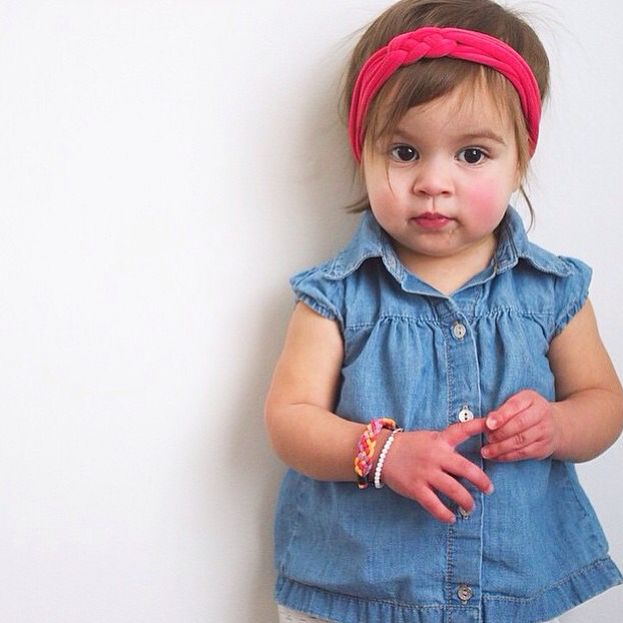 Coral knotted baby toddler headband, celtic sailor knot braid stretchy headband.  Toddler style.