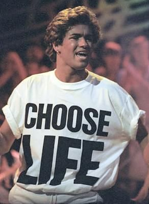 c6e9afa2 George Michael wearing a Choose Life T-shirt in the 80s | My ...