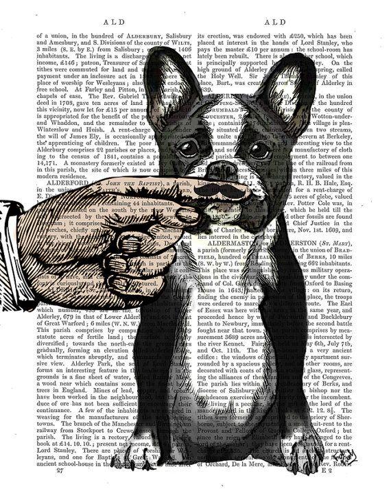 Funny dog art - French Bulldog Finger Mustache art mustache baby geek gift for…