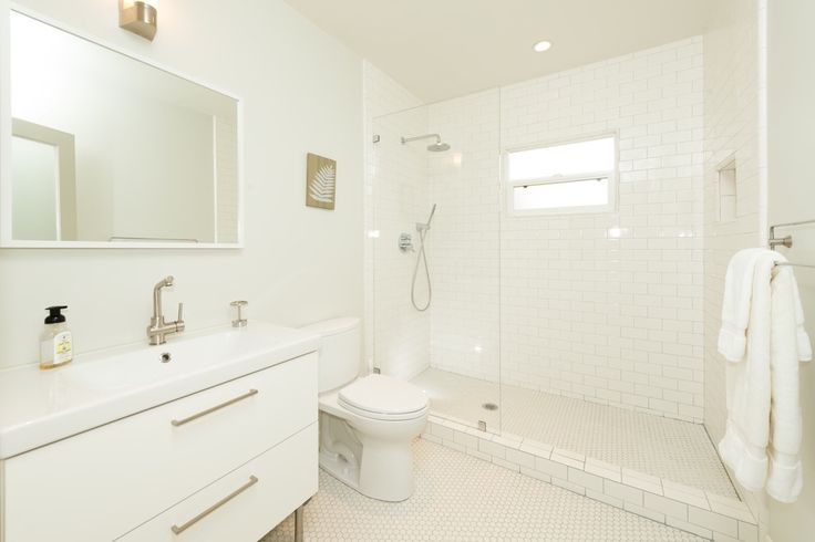Contemporary Full Bathroom with Flush, Daltile Retro Rounds Bold White Matte Mosaic TIle ...