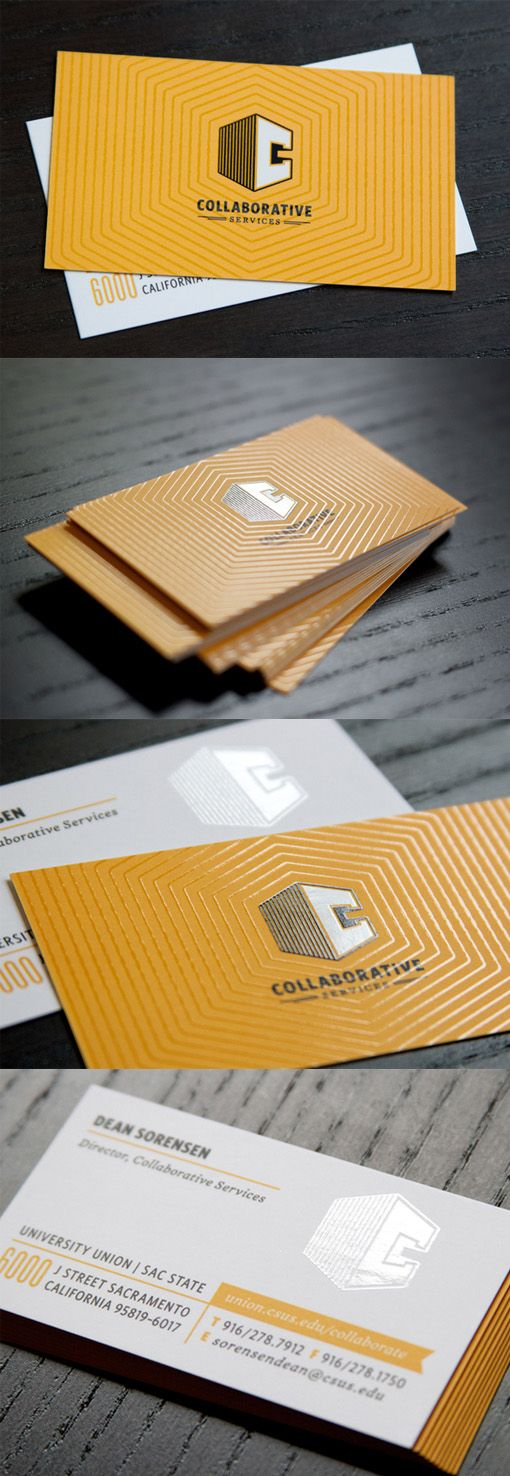 Bright Yellow Textured Spot UV Business Card Design