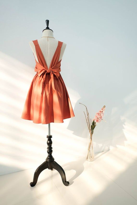 Rust Orange dress Dusty Orange Rust Bridesmaid dress ...