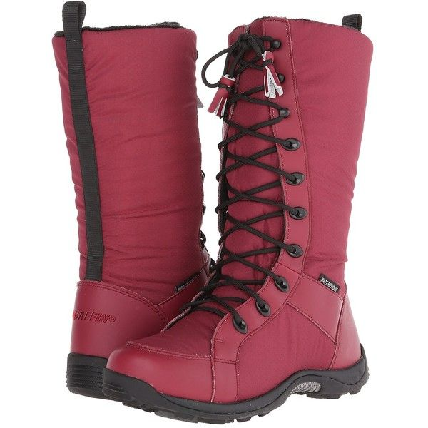 Baffin Chicago (Dark Red) Women's Lace-up Boots ($106) ❤ liked on Polyvore featuring shoes, boots, red, red slip on shoes, baffin boots, minnetonka® shearling-lined lace-up boots, dark red shoes and dark red boots