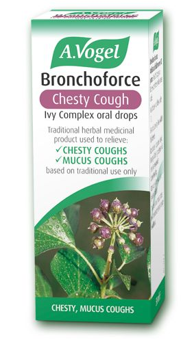 Bronchoforce Chesty Cough    - Herbal remedy for chesty or mucus cough  - Helps the body expel mucus or catarrh from the chest  - Made from freshly harvested Ivy and Thyme  15ml - £3.95 50ml - £9.15