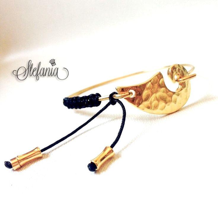 Gold plated bracelet, bangle bracelet, wave bracelet by StefaniaJewelsShop on Etsy