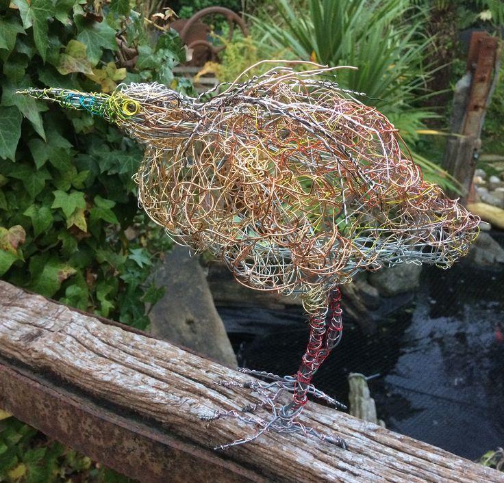 Squacco Heron.Wire Bird Sculpture by Paul Green