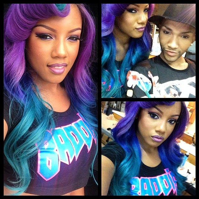 Breaunna Womack Real Hair Purple Hair Ombre Styl...