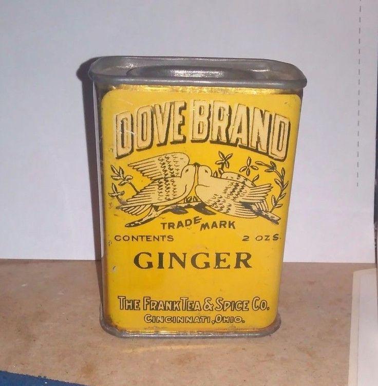Vintage Dove Brand Ginger Spice Tin - Franklin Tea & Spice Co. Cincinnati, Ohio #DoveBrand