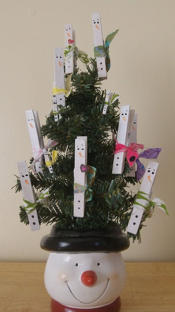 Snowman Clothespin Ornament set of 5 regular by LittleGiftsForAll