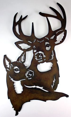 "13x18"" deer metal wall decor country cottage cabin decor wall art antlers hunt"
