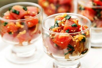 Hawaiian Ahi Poke.  If you love ahi (tuna) sashimi or sushi, then you are going to love this easy Hawaiian Ahi Poke recipe by Tasty Kitchen member A Spicy Perspective. When served in little bowls, this dish makes a stunning starter for a dinner party.
