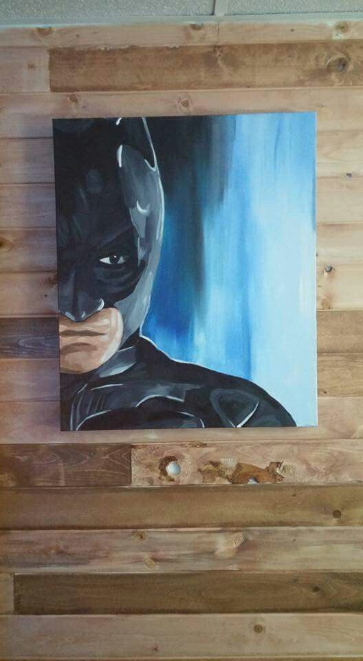 Batman acrylic painting. Made it yesterday for his man cave.