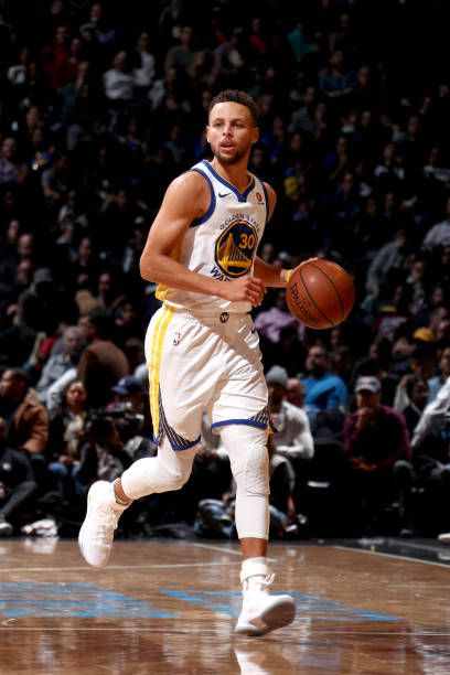 Stephen Curry of the Golden State Warriors handles the ball against the Brooklyn Nets on November 19 2017 at Barclays Center in Brooklyn New York...