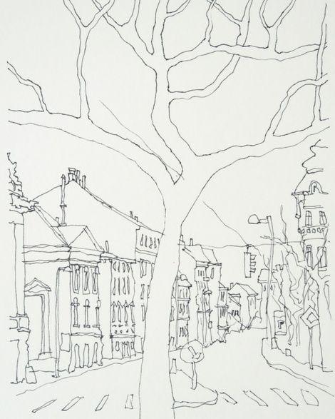 Karl Seitinger, Urban Sketch, Auersbergstrasse-Vienna on ArtStack #karl-seitinger #art