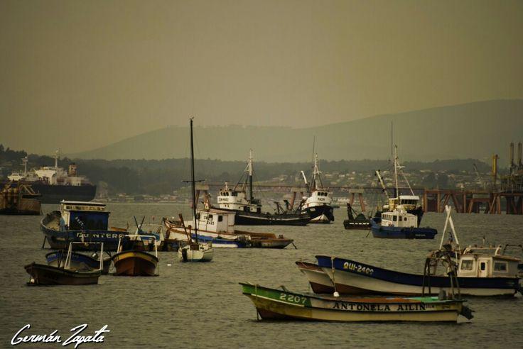 Botes en Descanso, Quintero, Chile.