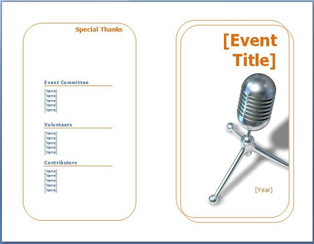 free event program templates word - Yenimescale