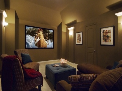 Media room from American Legend Homes. Just the right size for a small family or couple