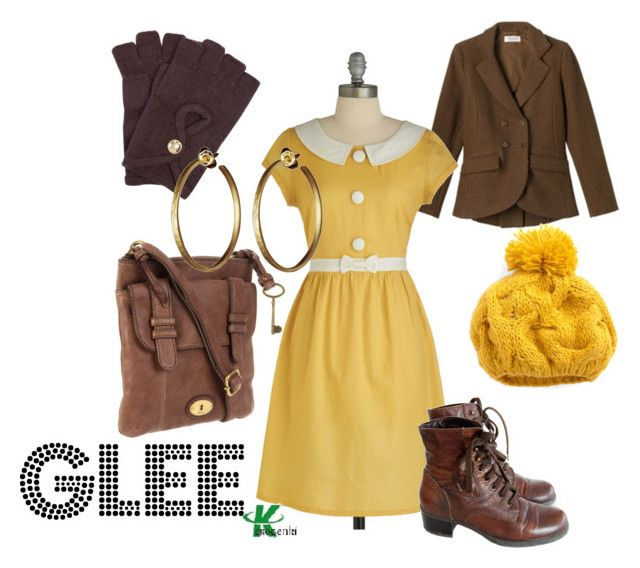 """Glee"" by wearwhatyouwatch ❤ liked on Polyvore featuring Toast, Tulle Clothing, MICHAEL Michael Kors, FOSSIL, Me&Ro, mel, yellow, glee and brown"
