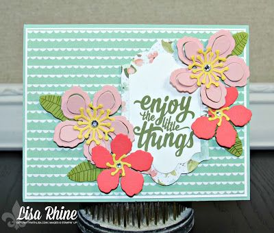 Get Crafty with Lisa:  Fun with Flowers Week:  Enjoy the Little Things Card.  This card features Stampin' Up!'s Enjoy the Little Things Stamp Set, Birthday Bouquet Designer Series Paper and Botanical Builders Framelits Dies, by Lisa Rhine, www.getcraftywithlisa.com