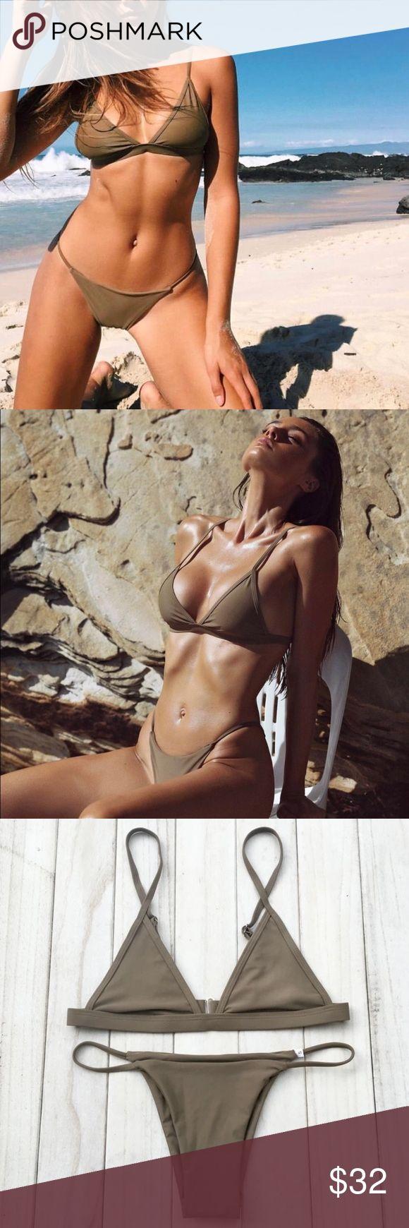 Khaki Triangle Bikini 💓 brand new 💓 cheeky bottoms  ❌ no trades Swim Bikinis