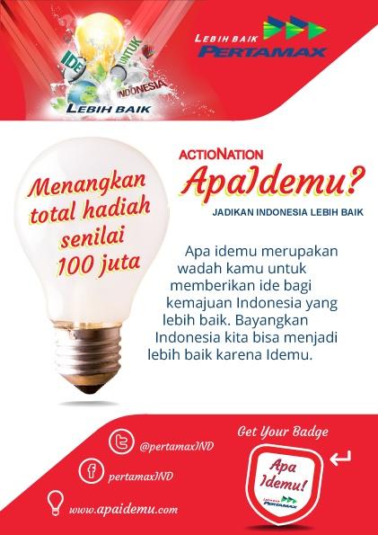 Yotomo turut mendukung the ActionNation movement dengan mendorong semua untuk menyumbangkan ide-ide terbaiknya untuk menjadikan Indonesia lebih baik. Movement ini dipelopori oleh Pertamax. - http://dasblog.yotomo.com/2012/10/15/apaidemu/