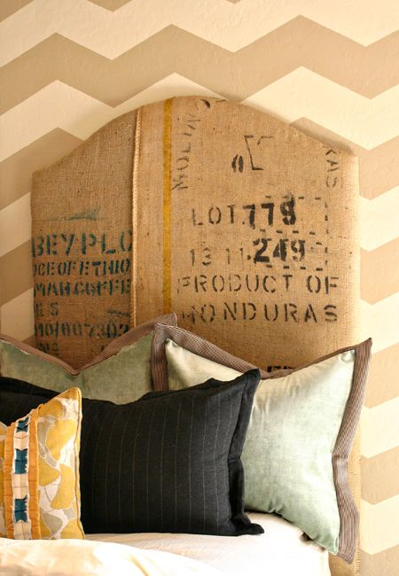 coffee sack headboard... i have the sacks and need to brush up on my sewing machine skills