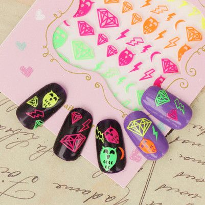 Neon nail decals. Use my code AAX31 for 10% off your order @BornPrettyStore, Nail Art Sticker Fluorescent Star Diamond Wav... at $1.59. http://www.bornprettystore.com/-p-13892.html