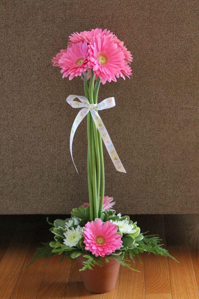 Centros d mesa con gerberas color rosa   Centro d mesa con grbersd rosa