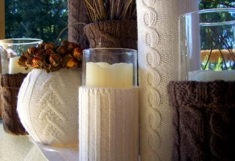 Cozy winter decorations like these cute Recycled Sweater Vases give your home that extra warm touch during the cold weather months. If you're looking to get rid of some old shirts, recycled sweater crafts like this one are great!