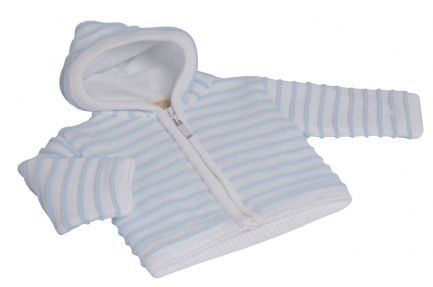 Baby's knitted jacket. Cosy knitted jacket with full fleece lining. High quality look and feel with full zip fastening down the front and full fleece lined hood. 100% acrylic. Available in white, pink and white, blue and white. In sizes Newborn, 0-3 Months, 3-6 Months, 6-12 Months.