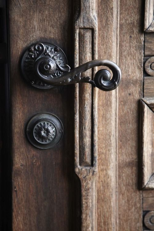 Antique patina on lever handle sculpted door handle.  Beautiful Antique #DoorHardware