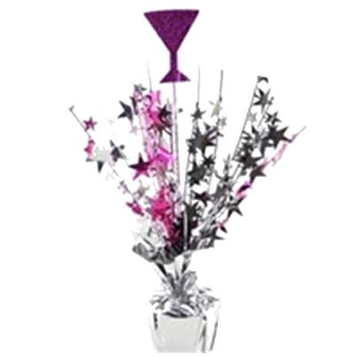 Centrepiece Martini     Martini glass with black, cerise and silver onion grass (40cm High)  - See More at: http://thebridalparty.com.au/hens-bridal-shower-decorations-c-102_111.html