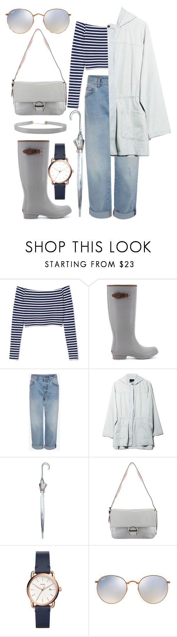 """Rainy Day Blues"" by khriseus ❤ liked on Polyvore featuring Chooka, BB Dakota, Fulton, Reed Krakoff, FOSSIL, Ray-Ban, Humble Chic, rainyday and plus size clothing"