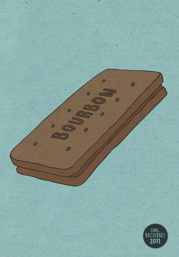 Bourbon Biscuit Pen and Ink Illustration 5 x 7 by CarlBatterbee, £7.99