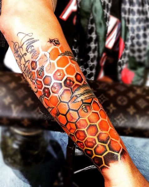 Bees On Amber Colored Honeycomb Tattoo Mens Forearms