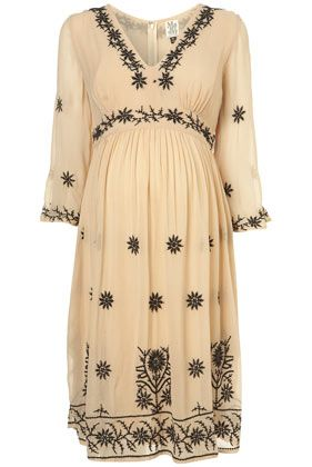 Maternity Cream Embroidered Midi Dress - Maternity - Clothing - Topshop USA