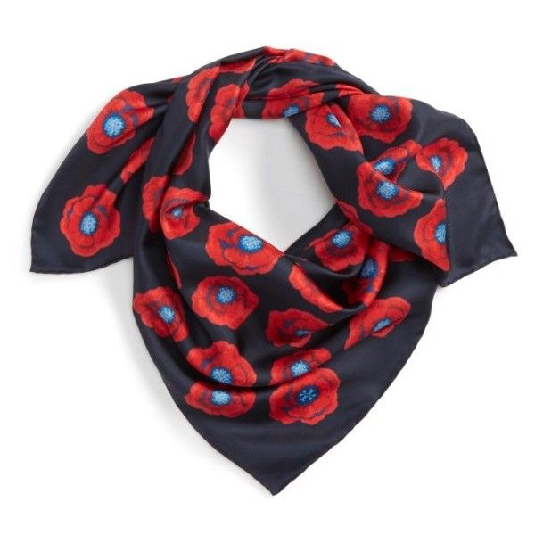 Women's Tory Burch Poppy Silk Square Scarf (79.155 CLP) ❤ liked on Polyvore featuring accessories, scarves, tory navy floral, pure silk scarves, silk scarves, square scarves, square silk scarves and navy blue shawl