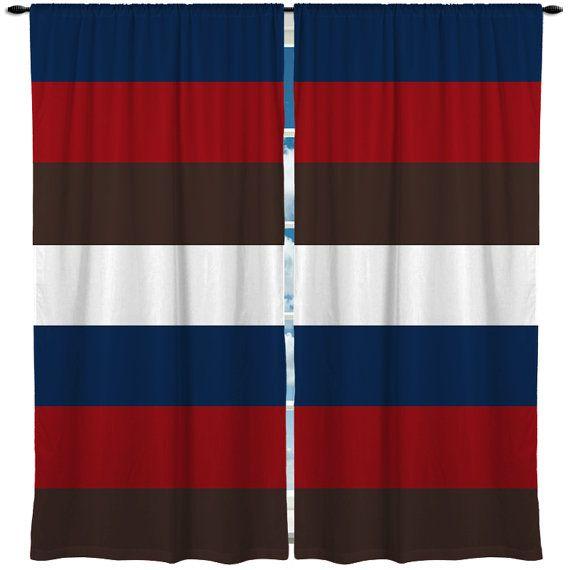 Custom Window Curtain Rugby Bold Horizontal Stripe