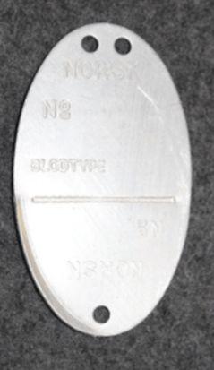 Norwegian dog tag / id badge, manufactured 24th nov. 1944.