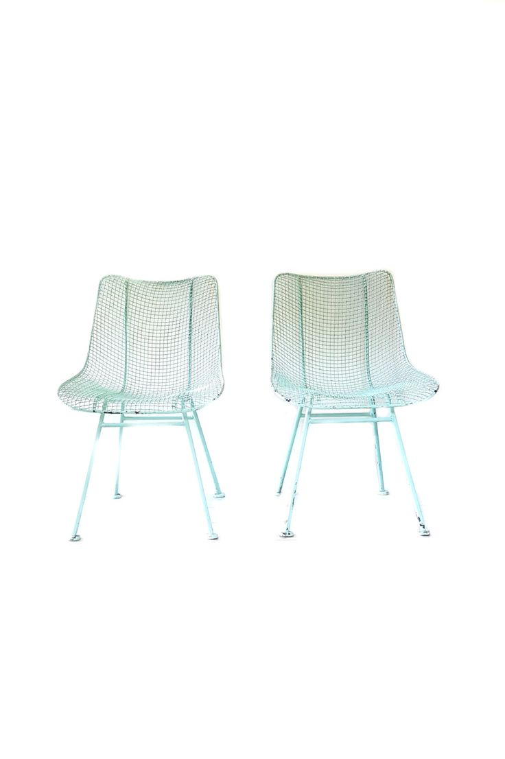 Vintage mid century modern metal folding wire mesh patio chairs - Mid Century Scoop Chairs Russell Woodard Sculptura Wire Mesh Patio Chairs Two Mint Green