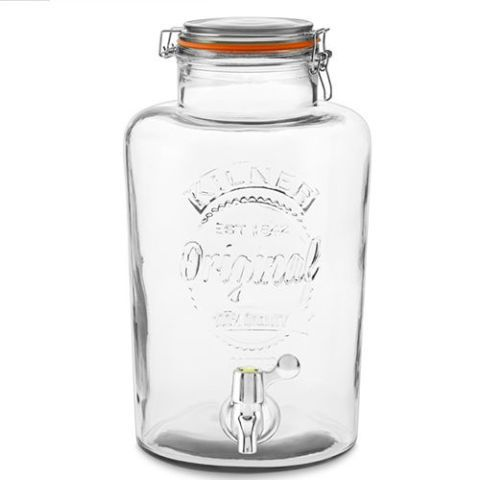 Kilner Clip-Top Jar Beverage Dispenser An oversized version of the classic Kilner jar, this glass beverage dispenser has a convenient clip-top sealed lid and sleek chrome hardware. We love the industrial aesthetic this piece adds to any kitchen or room.