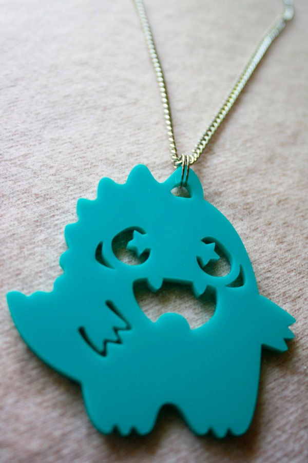 Kawaii turquoise Dino necklace