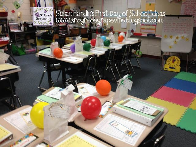 """First Day of School - """"Get-to-Know-Me Balloon Pop"""".  An exciting and fun way to manage behavior on the 1st day - My kiddos patiently wait to see who I will call on next to POP their balloon and read their secret """"get-to-know-me"""" questions inside.  I space these out throughout the day, and tell them that I will choose the one who is following the procedures I'm desperately teaching.  Also a great visual to entice that reluctant student to leave their parent…"""