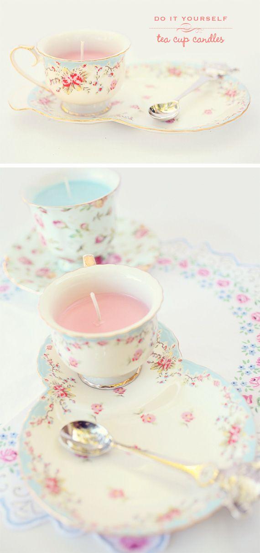 Diy teacup candles tea party decorations and favor idea for Teacup party favors