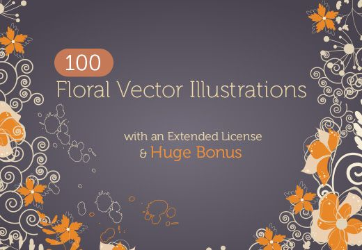 Beautiful collection with 100 top-of-the line floral vector illustrations
