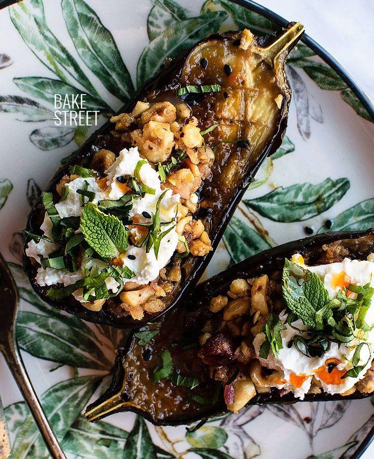 Nasu Dengaku or eggplants glazed with miso sauce. Accompanied with shallot and hazelnuts sautéed, crème fraîche and aromatics herbs.