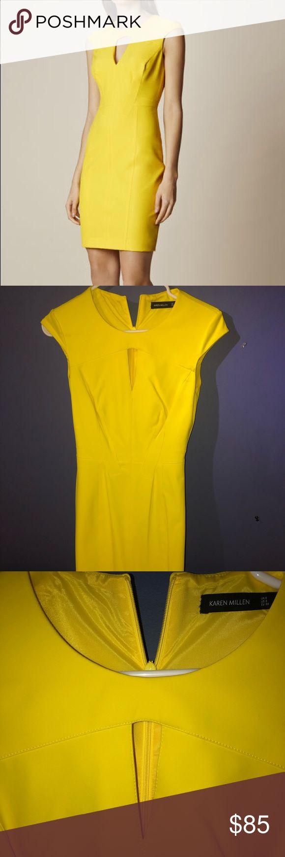 Yellow Karen Millen Dress Yellow Karen Millen Scuba Pencil Dress . . . Very flat…