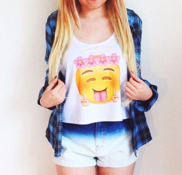 Top: lovely, emoji crop top, emoji print, crop tops flannel shirt - Wheretoget https://wheretoget.it/look/1321045