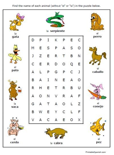 free printable puzzle worksheet on animals in spanish animales fun handout homework for kids. Black Bedroom Furniture Sets. Home Design Ideas