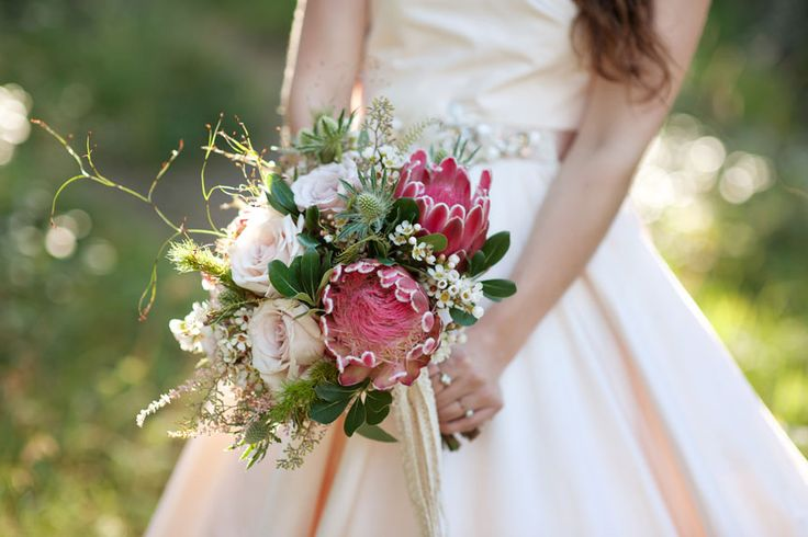 Beautiful evening sun on this bridal bouquet comprised of Pink Ice protea, Quicksand roses, astilbe, waxflower, eryngium thistle and mixed Australian native foliage! Calgary Wedding Florist- Flowers by Janie www.flowersbyjanie.com Photo: @tarawhitphoto Gown: @cameocalgary